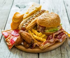 Hamburger pizza sandwich fast food Stock Photo 02