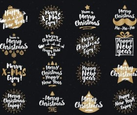 Hand drawn christmas labels design vector