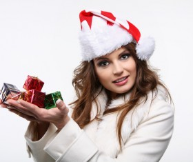 Hands holding Christmas gifts girl Stock Photo 01