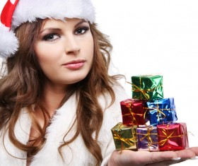Hands holding Christmas gifts girl Stock Photo 03