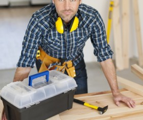 Handsome carpentry Stock Photo