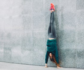 Handstand girl Stock Photo 02