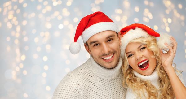 happy christmas couple stock photo