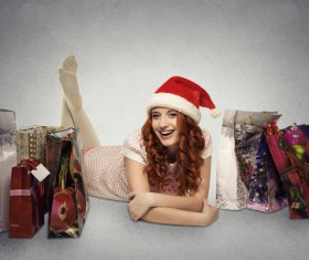 Happy girl and christmas present Stock Photo