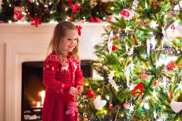 Happy Little Girl Decorated Christmas Tree Stock Photo 05