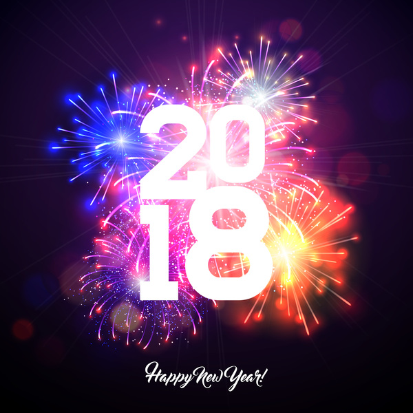 happy new year 2018 firework holiday background vector
