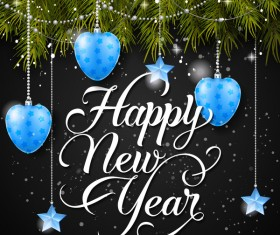 Happy new year background with blue baubles vector