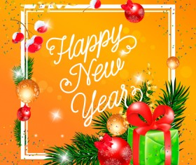Happy new year greeting card yellow vector