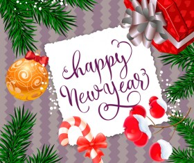 happy new year with christmas gift card vector