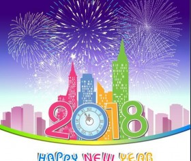 Holiday firwork with 2018 new year city vector