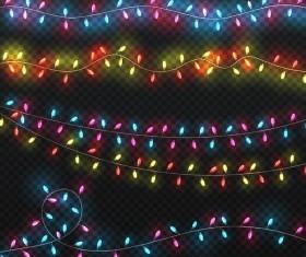 Holiday light bulb decor borders vector illustration 01