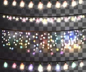 Holiday light bulb decor borders vector illustration 03
