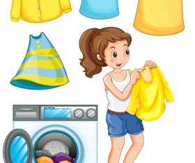 Housewife washing clothes vector material