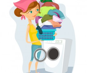 Housewife with laundry vector material
