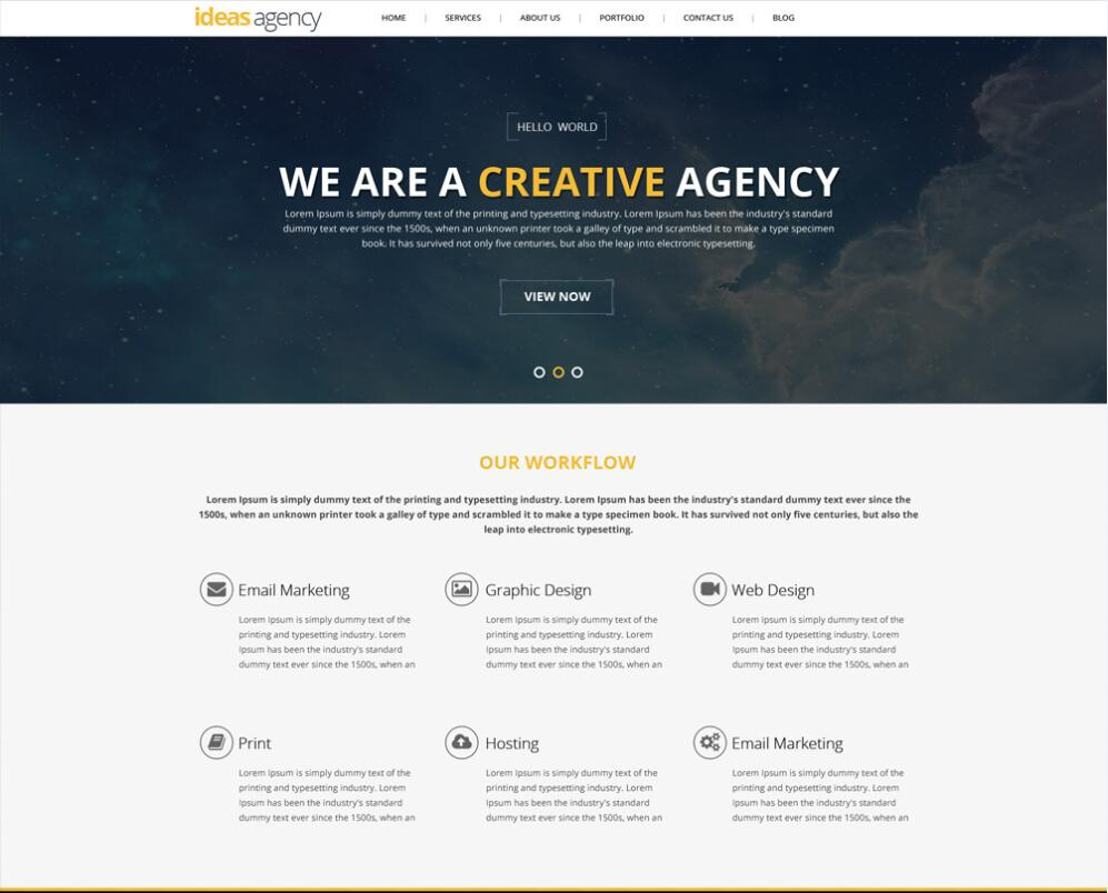 Idea agency portfolio web Psd Template