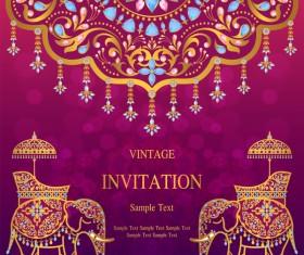 India invitation card luxury vector