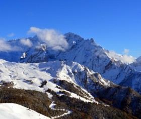 Italy Dolomites snow mountain landscape Stock Photo