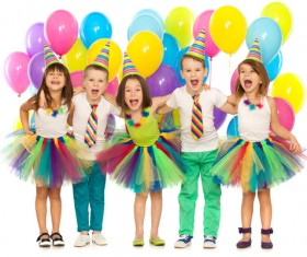 Kids celebrating birthday party Stock Photo 01