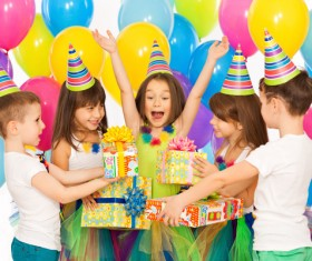 Kids celebrating birthday party Stock Photo 02