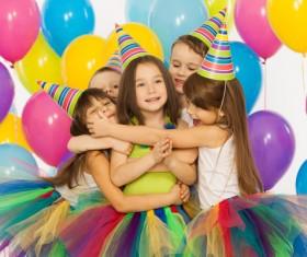Kids celebrating birthday party Stock Photo 03