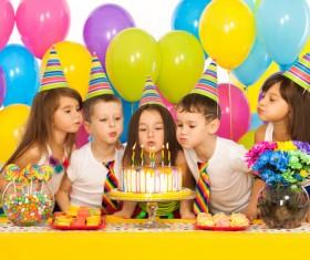 Kids celebrating birthday party Stock Photo 04
