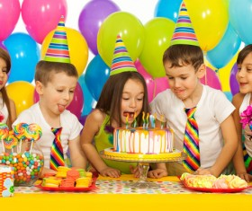 Kids celebrating birthday party Stock Photo 05