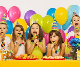 Kids celebrating birthday party Stock Photo 06