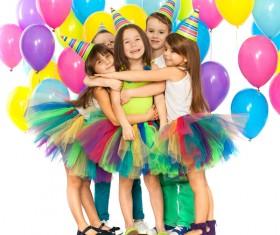 Kids celebrating birthday party Stock Photo 07