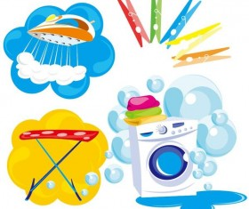 Laundry elements design vector