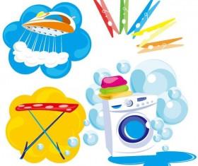 Laundry elements design vector