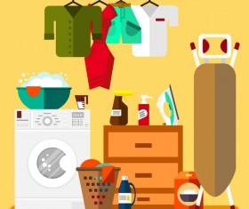 Laundry room design vector