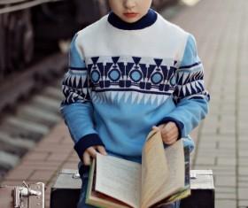 Little boy reading book Stock Photo