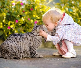 Little girl and pet cat Stock Photo
