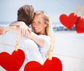 Lovers with hearts Stock Photo 01