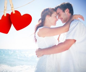 Lovers with hearts Stock Photo 03