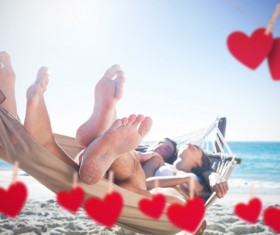 Lovers with hearts Stock Photo 07