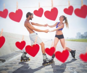 Lovers with hearts Stock Photo 11