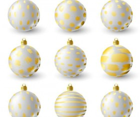 Luxury golden with white christmas balls decor vector 01