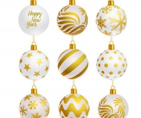 Luxury golden with white christmas balls decor vector 02