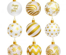 Luxury golden with white christmas balls decor vector 03