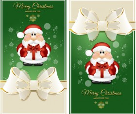 Luxury green christmas card with santa vector