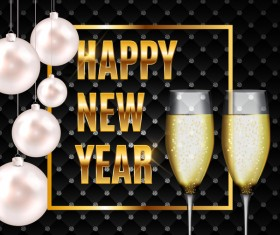 Luxury new year background with wine vector