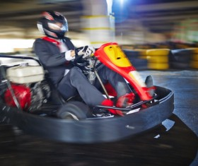 Man driving gokart Stock Photo