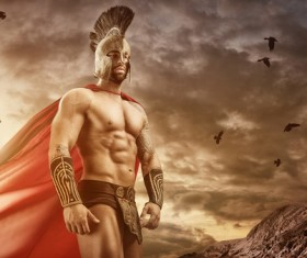 Medieval Spartan warrior Stock Photo