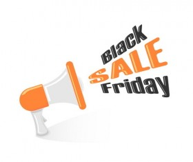 Megaphone with black friday vector illustration