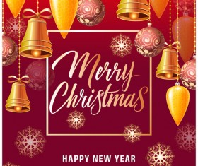 Merry christmas baubles with new year background vector 01