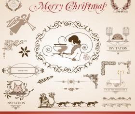 Merry christmas caligraphic design elements vector 02
