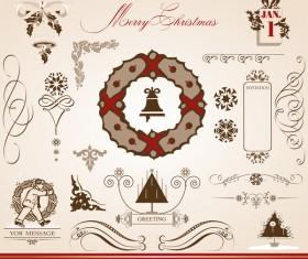 Merry christmas caligraphic design elements vector 03