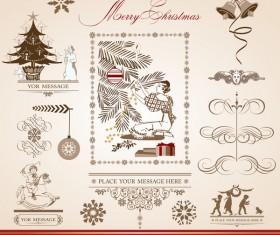 Merry christmas caligraphic design elements vector 04