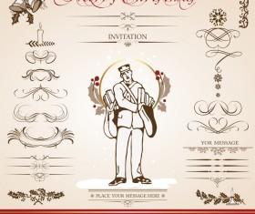 Merry christmas caligraphic design elements vector 05